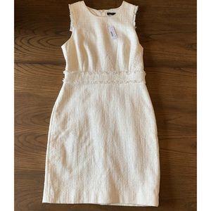 J. Crew Ivory Sheath Dress In Tweed Size 8